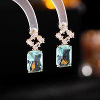Korean Women Zircon Dangle Earrings Fashion Hollow Out Square Crystal Drop Earring Elegant Sweet Wedding Party Dress Jewlery