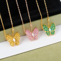 2022 Hot Brand Gold Color Fashion Pure 925 Sterling Silver Jewelry For Women Colorful Butterfly Necklace Pendant Cute Luxury Party Top Quality Fine Jewelry