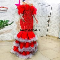African Aso Ebi Mermaid Prom Dress Two Pieces Detachable Train Beads Pearls Ruffles Sleeves Evening Dress Party Wear for Women