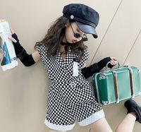 Fashion Girls Black Bianco Plaid Sulsuiti Summer Children Bambini Belt Belt Lattice Tuta Shorts Big Kid Abbigliamento A6336