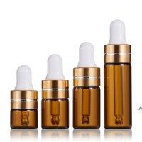 Mini Amber glass Essential Oil Perfume Bottles 1ml 2ml 3ml 5ml DIY sample dropper bottle with liquid reagent pipette DWB6968