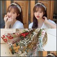 Headbands Jewelry Jewelrywomen Embroidery Flower Headband Vintage Band Bezel Women Fashion Korean Headwear Lace Girl Hair Aessories Drop Del