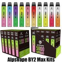 Authentic AlpsVape By2 MAX Kit monouso 2in1 5000 sbuffi 12ml Pod Dispositivo di vapore Botton Switch ricaricabile da 900 mAh BY-2 Stick Penna Vape 100% Genuino VS Flex Plus