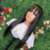 Black Color Silky Straight 13X6 Lace Front Human Hair Wigs with Bangs PrePlucked full lacewigs 360Lace Frontal Wig Fringe Brazilian Glueless