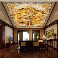 Wallpapers Drop Po Wallpaper Custom Chinese Dragon Phoenix HD Mural Living Room El Office Hall Ceiling