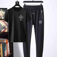 CH H earts chrome Crosin Summer new fashion crosin Sanskrit cross slim round neck short sleeve Tshirt pants casual sports suit men