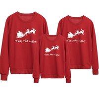 새로운 간단한 가족 소년 소녀 유니섹스 키즈 여자 망 빨간 면화 크리스마스 인쇄 점퍼 후드 크리스마스