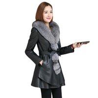 Leather Coat Women Black Red M-4XL Plus Size Add Cotton Jacket 2021 Autumn Winter Fashion Thick Warmth Fur Collar PU Tops CX1370 Women's & F