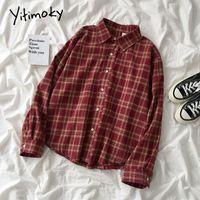 Yitimoky красная рубашка и блузка женщины топ Корейский мода кнопка одежды клетки harajuku старинные с длинным рукавом повседневная 2021 весенний женский blou
