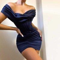 Стройное сатиновое платье Ruched женские мини-корсет платье Bodycon рождественские вечеринки ночной клуб от платного платья элегантное платье день рождения 210709