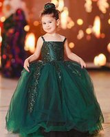 2021 Dark Green Lace Flower Girl Dresses Ball Gown Tulle Backless Lilttle Kids Birthday Pageant Weddding Gowns ZJ676