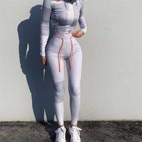 Laisiyi Kadınlar Uzun Kollu Croptop Ince Kıyafet Eşofman 2 adet Set Mektup Baskı Yüksek Elastik Skinny Tayt Kadın Spor 210714