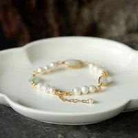 Charm Bracelets Emerald Freshwater Pearl Women On Hand Chain Bangles Jewelry Aesthetic Fashion Female Now 2021 Vintage