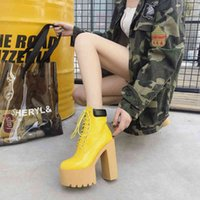 Boots Bota feminina d salto amarlo non, calçado fminino sxy com non cadarço, para outono invrno S824