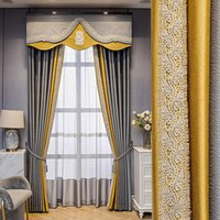 Curtain & Drapes Custom High Quality Modern Simplicity Embroidery Splicing Silk Gray Lace Gold Blackout Valance Tulle Panel M1166