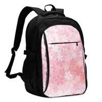 Mochila 2021 Fresca de impresión Portátil Pink Cherry Blossoms en plena floración USB Travel Travel Mujeres Mochila Mochila