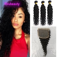 Water Wave Indian Virgin Human Hair 3 Bundles With 5*5 Lace Closure Baby Hair Free Middle Three Part 4PCS Natural Color