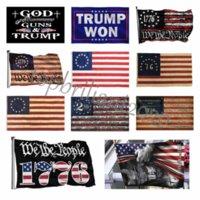 DHL American Flag-вера из-за страха Бог Иисус 3x5 футов флаги 100D полиэстер баннеры крытый открытый яркий цвет высокого качества с двумя латунными втулками