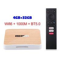 mecool km6 amlogic s905x4 الذكية مربع التلفزيون الروبوت 10.0 ATV 4GB RAM 32GB ROM 2.4 / 5G WIFI BT تعيين أعلى مربع 4K أندرويد 10