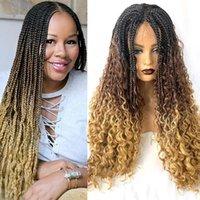 Ombre miel blonde brun gradient gradient couleur boîte crochet tresse cheveux en dentelle avant perruque tressée tresses synthétiques perruques pour femmes1