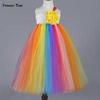 Fille's Robes Coloré Rainbow Flower Girl Tutu Robe Enfant Pageant Robe de bal Tulle Princess Anniversaire Dance Partie de mariage