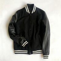 Männer Jacken Winter Echte Lederhülsen Varsity Jacke Männer Wolle Baseball Letterman Mantel Plus Größe 5XL
