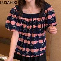 Frauen Blusen Hemden Kusahiki Mode Kirsche Gedruckt Bluse Frauen Puff Sleeve Square Kragen 2021 Kausal Top Blusas Mujer de Moda 6K810