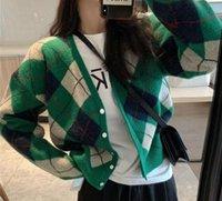 V-neck contrast diamond sweater knitted cardigan loose autumn and winter 2021 new green diamond retro sweater jacket women