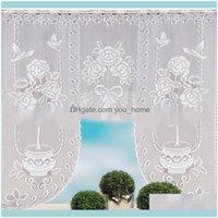 Perdeler Deco El Malzemeleri Ev Gardeneuropean Beyaz Dantel Sheer Mutfak Valance için Pencere Tül Perdeler Kahve Bölücüler Perde Yatak Odası ROM