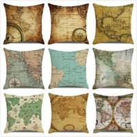 Cushion Decorative Pillow Vintage Nautical Chart Watercolor Pirate Treasure Map Home Soft-furnished Sofa Cushion Wholesale Custom ZX339