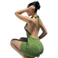 تصميم الأزياء الأخضر عارية الذراعين البسيطة اللباس شاطئ المرأة الرسن الرقبة أكمام الصيف أسود قبالة الكتف حزب متماسكة bodycon فساتين مثير
