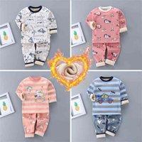Winter Children Warm Underwear Set Sleepwear Kids Clothes Sets 12m-5y Thickened Cartoon Girl Christmas Pajamas Plush Pyjama Boys 210729