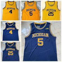 Jalen Rose 5 Michigan College Basketball Jersey Chris Webber 4 Juwan Howard 25 Men's Stitched Navy Blue Yellow Size S-XXL Top Quality