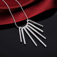 925 Sterling Silver 18 Inch Snake Chain Seven Pillars Pendant Necklace for Women Fashion Wedding Party Charm Jewelry