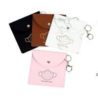 Masque portable Sacs de rangement Keychain Masques de poussière réutilisables Sac Pendentif Pendentif Mode PU Cuir Cuir Clé Chaîne Accessoires HWB6693