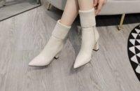 Designer boots fashion autumn thick heel women's cowhide wool boot beige black zipper high heels size 34-39