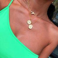 Винтажное многоуровневое геометрическое ожерелье для женщин воротник женский модный золотой самолет Cncient Греческая головка монеты кулон ювелирные изделия подарок ожерелья