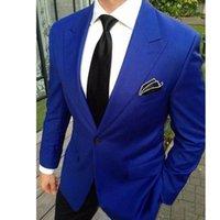 Men's Suits & Blazers TPSAADE 2 Pieces Wedding Tuxedos Jacket+Pants Royal Blue Jacket For Men Custom Made Groom Groomsmen