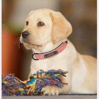 Colares Cão Personalizado Colar De Couro Cão Colar Nome ID Tags Para Cães Pequenos Cães Grandes Pitbull Bulldog Beagle Correa Perro 1331 T2