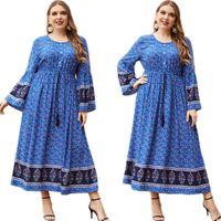Abbigliamento etnico Vintage Stampato Floral Stampato Delle Delle Delle Donne lunghe Primavera Estate Abaya Musulmano Islamica Arabo Mesidino Middle East Allentato Casual Maxi Robe Dubai KAF