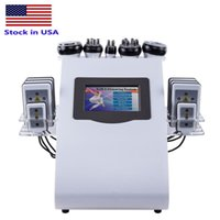 Estoque EUA High End Slimming Home Uso 6 em 1 40K Ultrasonic Cavitação Vácuo Rádio Frequência Laser 8 Pads Beauty Equipamento
