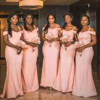 Pink Bridesmaid Dresses Mermaid Floor Length Custom Made Plus Size Off the Shoulder Spaghetti Straps Country Maid of Honor Gown vestidos