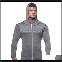 & Sweatshirts Mens Apparel Drop Delivery 2021 Autumn Men Zipper Thin Sweatshirt Hoodies Man Bodybuilding Workout Hooded Jacket Male Gyms Fitn