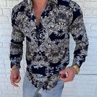 Chemises occasionnelles pour hommes Mode pour hommes à manches longues Chemise à imprimé floral à manches longues Robe d'automne Camisa Bouton Collier Mâle Haut