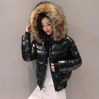 Big Fur Winter Jacket Women Parkas Hooded Waterproof Down Parka Female Jacket Glossy Short Coat Woman Slim Warm Outwear 211013