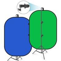 NEEWER 5'x7'Chromakey أبيض قابل للطي خلفية مع دعم حامل كيت: 2 في 1 خلفية قابلة للانعكاس المنبثقة الناشر الناعم