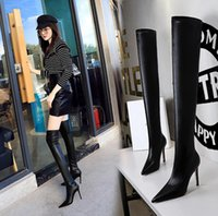 Winter Knee High Boots Women Designer Pointy over-the-knee boots Heels shoes Natural Genuine Leather Party Wedding Fashion Luxury Platform Lady size34-43 9.5cm