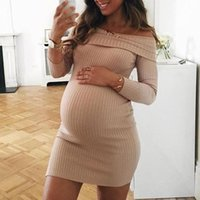 Maternity Dresses Solid Color Pit Striped One Shoulder Dress For Pregnant Woman Casual Slash Neck Long Sleeve Women Bodycon