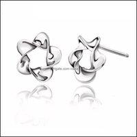 Jewelryexquisite Pentagram For Women Ear Jewelry Lovely Stud Earring Birthday Gift Wholesale Color Sier Earrings Drop Delivery 2021 3Gyzp