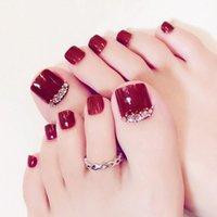 거짓 손톱 24pcs 발가락 여름 스타일 가짜 팁 접착제와 신선한 꽃 잎 디자인 발톱 전체 커버 네일 아트 장식